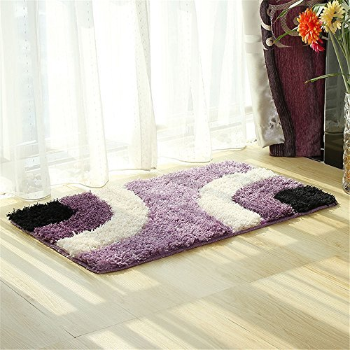 - Hepix Large Non-Slip Bathroom Rug Purple Shag Shower Mat Washable Bath Mats with Water Absorbent Soft Microfibers for Floor Bathroom Bedroom Living Room, 24 by 35 inch