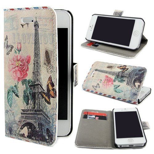 """ivencase E32 Scenic Design PU Leather Flip Protective Skin Case Cover for Apple iPhone 5 5S + One"""" ivencase """"Anti-dust Plug Stopper"""