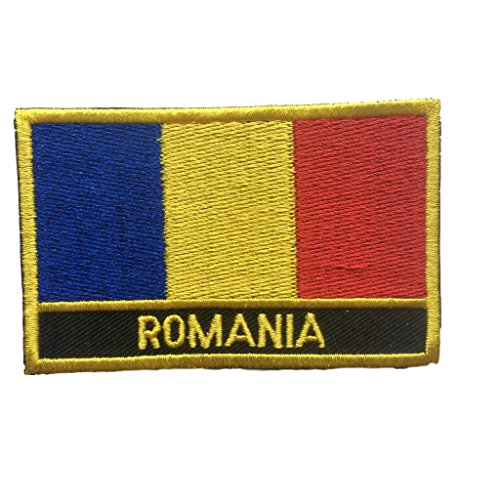 (Romania Flag Patch/Embroidered Travel Patch Sew-On (Romanian Iron On w/Words, 2
