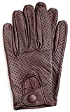 Riparo Motorsports Men's Genuine Leather Mesh Driving Gloves (Medium, Dark Brown)