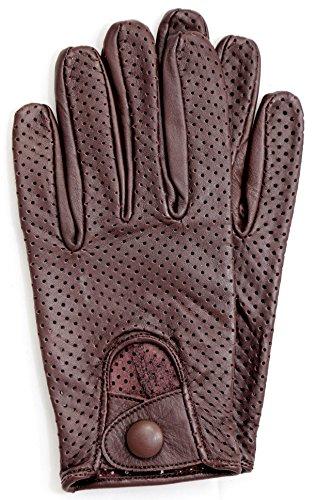 Riparo Motorsports Men's Genuine Leather Mesh Driving Gloves (Large, Dark Brown) Mens Mesh Leather Glove