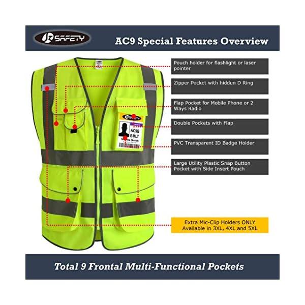JKSafety Nueve bolsillos Nivel 2 Uniforme trabajo Chaleco con cremallera-Chaleco reflectante fluorescente-Chaleco de… 6