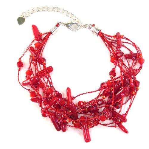 Coral Bracelet Red Chip (MGD, Red Coral Chip Bead Bracelet, 'Hot Coral Bracelet' , JA-0013)