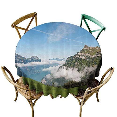 Jbgzzm Oil-Proof and Leak-Proof Tablecloth Mountain Pastoral View Switzerland Lake Lucerne Cloudy Grassland Pines Altdorf Uri Soft and Smooth Surface D43 Blue Green White