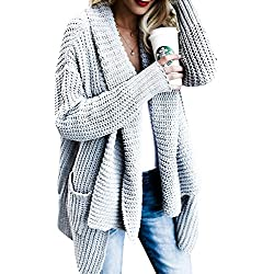 FISACE Women's Loose Fit Long Sleeve Knitted Cardigan Sweaters Outerwear with Pocket, Small, Grey