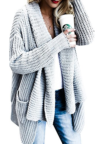 FISACE Women#039s Loose Fit Long Sleeve Knitted Cardigan Sweaters Outerwear with Pocket Small  Grey