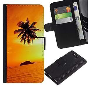 LASTONE PHONE CASE / Lujo Billetera de Cuero Caso del tirón Titular de la tarjeta Flip Carcasa Funda para Sony Xperia Z1 Compact D5503 / Orange Sunset Black Gold Tropical Island