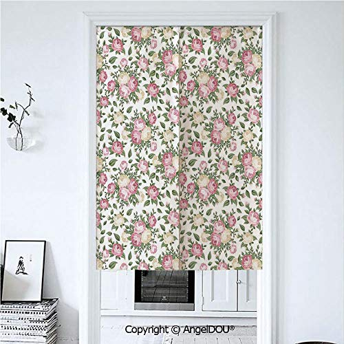 - AngelDOU House Decor Doorway Kitchen Cafe Half Tube Curtain Roses Rosebuds Leaves Bouquet Flower Arrangements Bridal Victorian Style Art Decorative for Home Party Decoration. 33.5x59 inches