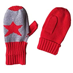 Ding-dong Baby Kid Boy Girl Winter Knitted Star Hat+Scarf+Gloves 3Pieces Set(Red,6-8T)