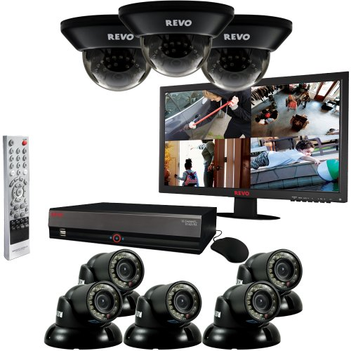16-Channel 2TB DVR Surveillance System with Eight 700TVL 100-Feet Night Vision Cameras and 21.5-Inch Monitor (Black) - REVO America R164D3GT5GM21-2T