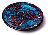 "Glass Mosaic Round Accent Plate Platter Decorative Catch-All Tray Dish Centerpiece Bowl - 8"" with Green, Blue, Yellow, Brown, Black Colors for Living Room, Bedroom, Hallway Console Side Table Decor"