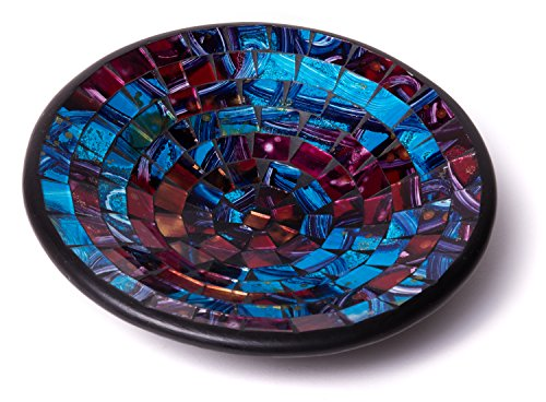 - Glass Mosaic Round Accent Plate Platter Decorative Catch-All Tray Dish Centerpiece Bowl - 8