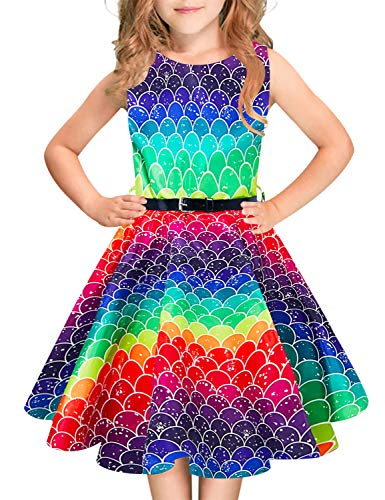 Funnycokid Classic Girls Summer Mermaid Dress Sleeveless Rainbow