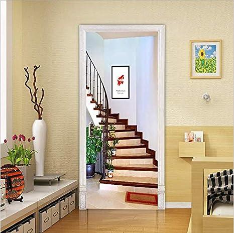 Door Mural Stairway Stairs View Effect Decal Mural Home Decor Window Sticker Wallpaper Home Living Vinyl Art Bedroom Lounge Kitchen 344