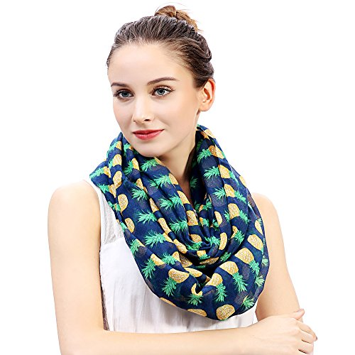 (Lina & Lily Pineapple Print Women's Infinity Loop Scarf Large Size Lightweight (Navy Blue))