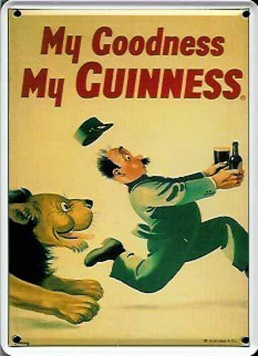 GUINNESS IRISH LION RUNNING Small Metal Tin Pub Sign by Guinness -