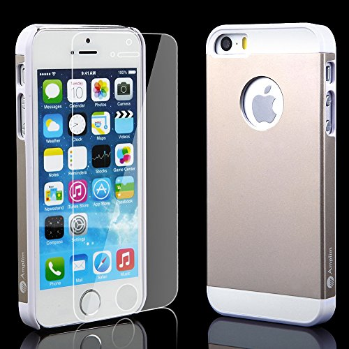 iPhone 5S Case Plus Glass Screen Protector: Amplim® New Luxury Gold Color Hard Aluminum Metal + White Plastic + Soft Silicone Rubber 3-Layer Back Slim Shell (APPLE-PHONE-5-Cover-PROTECTIVE-DUAL-UB)