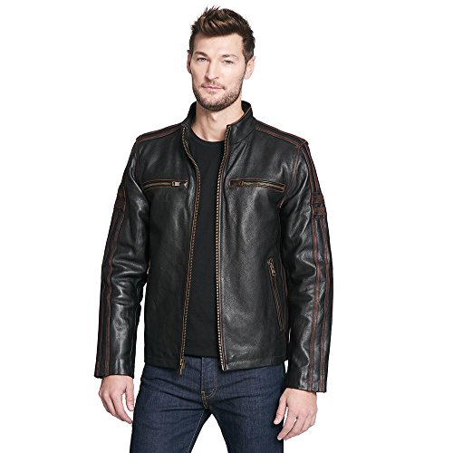 Black Rivet Mens Antique Leather Cycle Jacket S Brown Black Rivet Leather Jacket