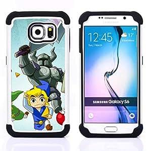 """Samsung Galaxy S6 / SM-G920 - 3 en 1 impreso colorido de Altas Prestaciones PC Funda chaqueta Negro cubierta gel silicona suave (Muchacha de la historieta japonesa en uniforme"""")"""