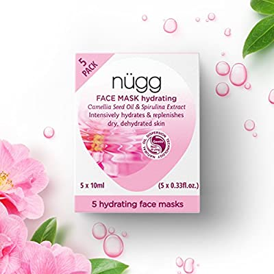 nügg Deep Hydration and Moisturizing Face Mask; Boosts Moisture Level of Dry and Very Dry Skin and Erases Dry Spots; BEST OF BEAUTY AWARD Winner; 94% Natural; 5 Pack (5 x 0.33 fl.oz.)
