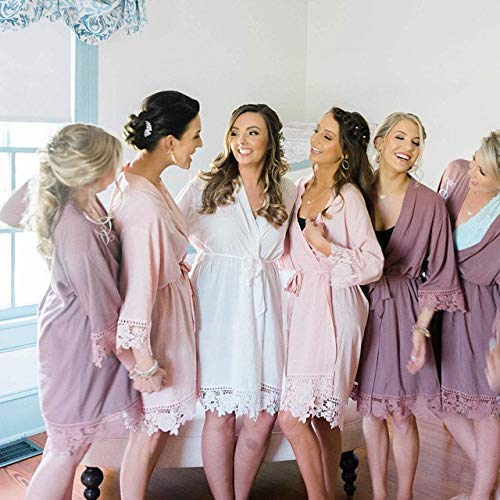 2019 authentic affordable price wholesale sales Amazon.com: Set of 6 Bridesmaid Robes with Lace Trim ...