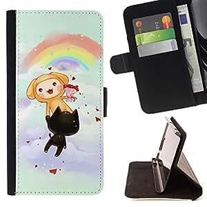 BullDog Case - FOR/Apple Iphone 5 / 5S / - / Cute Rainbow Cats Party /- Monedero de cuero de la PU Llevar cubierta de la caja con el ID Credit Card Slots Flip funda de cuer