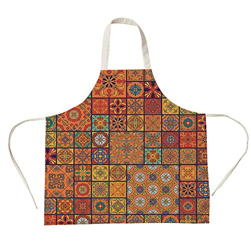 3D Printed Cotton Linen Big Pocket Apron,Moroccan,Collection of Moroccan Style Geometric Patterns Floral Ornamental Patchwork Print,Orange Red,for Cooking Baking ()