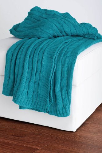 Rizzy Rugs THRTH0158TQ005060 Cable Knit Throw Blanket,Tur...