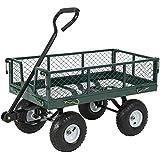 best choice products utility cart wagon lawn wheelbarrow steel trailer 660lbs