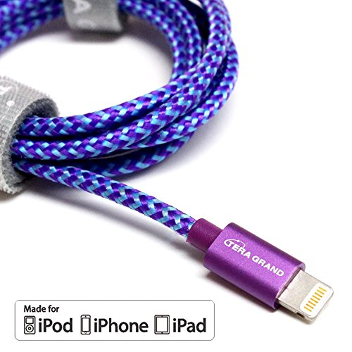 [Apple MFi Certified] Tera Grand Lightning to USB Braided Cable with Aluminum Housing, 4 Feet Purple/Blue for iPhone X 8 8 Plus 7 7 Plus 6 6s Plus 5s 5c SE iPad Pro Air Mini iPod