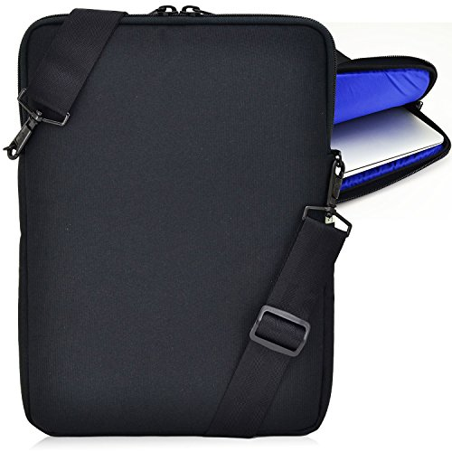 Gear Vertical Padded Sleeve Slip Case with Removable Strap for Laptop 13 inch, Macbook, Black (13.3 inch, Blue Interior) - Made in USA ()