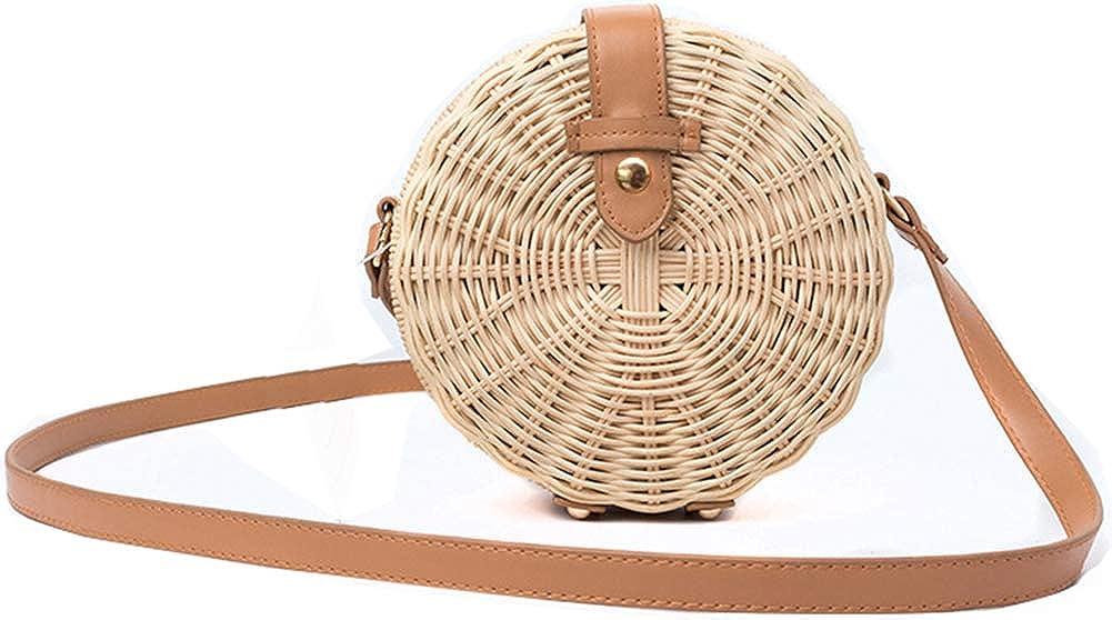 Hycurey Womens Round Rattan Bag Straw Purse and Handbag Handmade Crossbody Bags Summer Beach Sea Shoulder Bag