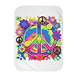 Royal Lion Baby Blanket White Neon Smiley Face Floral Peace Symbol