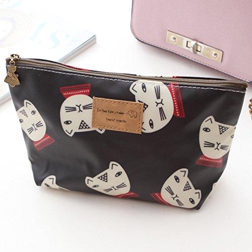 LULAN Cartoon cute Make-up Bag wasserdichte Paket kleine Taschen von Broken Flowers Paket ändern, 22*8*13 cm, 2785 Kätzchen schwarz