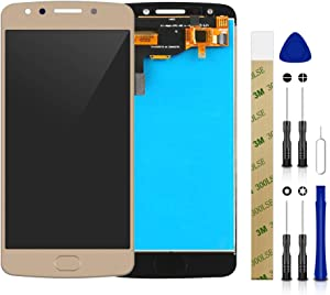 for Motorola Moto E4 (E 4th Gen) XT1768 LCD Screen Display Assembly Touch Screen Digitizer Panel Glass Replacement Tool (Golden Without Frame)