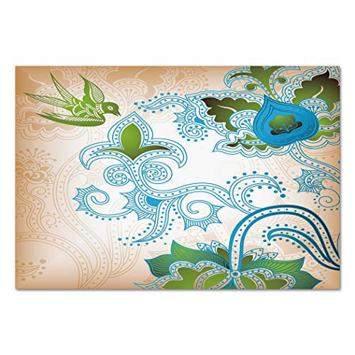 Large Paisley Wallpaper - Large Wall Mural Sticker [ Ethnic,Floral Eastern Nature with Bird Leaf Paisley Arabesque Inspired Pattern Decorative,Blue Olive Green Peach ] Self-adhesive Vinyl Wallpaper / Removable Modern Decoratin