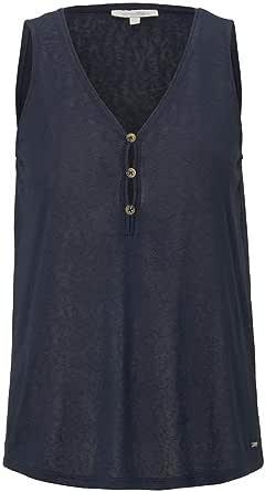 TOM TAILOR Denim Fluent Knopfdetail Camiseta para Mujer