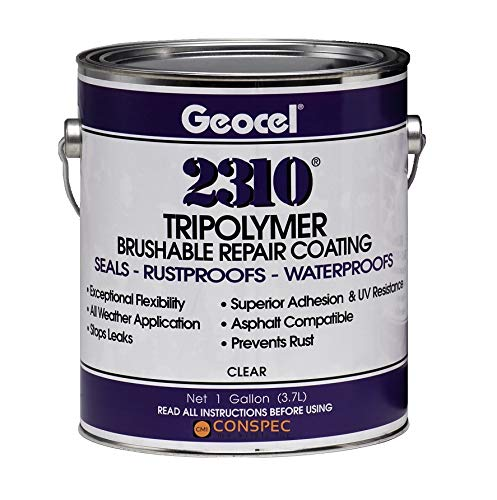 Geocel 2310 Industrial Grade Sealant Clear 1 Gallon Brushable Instant Roof Leak Crack Repair Coating