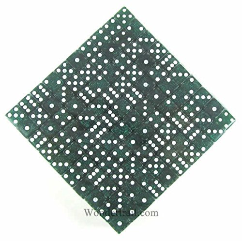 Green Standard Glitter Dice d6 16mm 200ea by Koplow Games