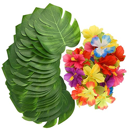 Tropical Flowers Centerpieces - XYXCMOR Hawaii Jungle Party Tropical Decoration Supplies Artificial Palm Leaves Silk Hibiscus Flowers for Moana Party Themed Balloons Wall Table Centerpieces Decor