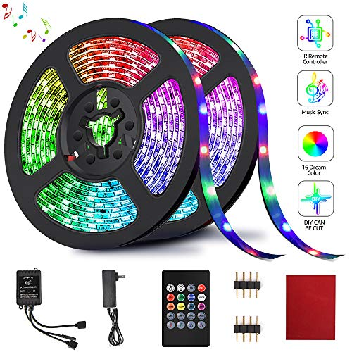 LED Strip Lights, HeySuun RGB Light Strips 32.8FT/10M 20Key, Music Sync Color Changing, Rope Light 600 SMD 3528 LED, IR Remote Controller Flexible Strip for Home Party Bedroom DIY Party Indoor Outdoor (Best Way To Warm Up Your Voice Before Singing)