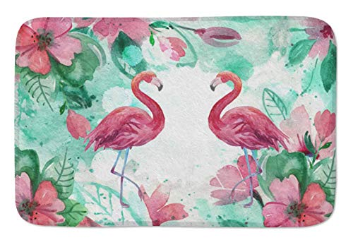 "Watercolor Flamingo and Tropical Leaves Doormats Door Mat Entrance Mat Floor Mat Welcome Mats /Outdoor/Front Door/Bathroom Mats Rugs for Home/Office/Bedroom Non Slip Backing (23.6""L x 15.7""W, F-001)"