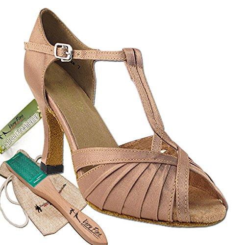 Women's Ballroom Dance Shoes Tango Wedding Salsa Latin Dance Shoes Brown Satin 2707EBB Comfortable - Very Fine 3