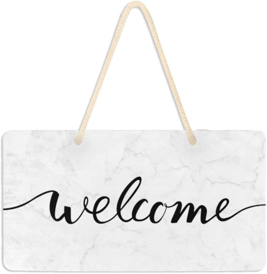 WELLDAY Hanging Plaque Welcome Sign White Marble Pattern Porch Front Door Wall Decor for Home