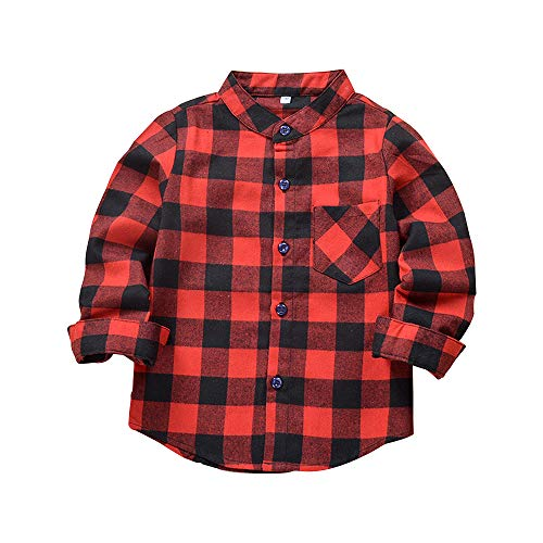 Kids Boy's Girl's Long Sleeve Shirts Button Down Cotton Plaid Flannel Blouse Tops Red Black Tag 120-US 4T (Ps2 Shirt)
