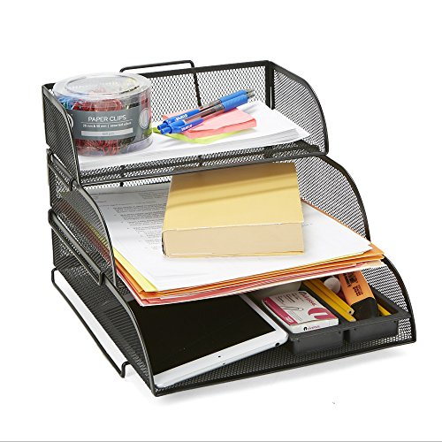 (Mind Reader 3TSIZE-BLK 3 Tier Different Sized Paper Trays Desk Organizer, Letter Tray, Document Paper File, Metal Mesh,)