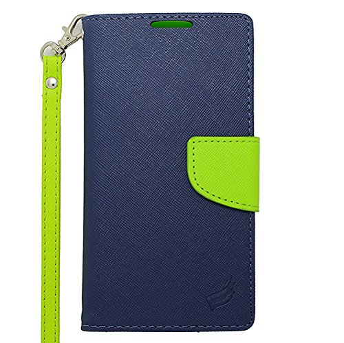 For Motorola DROID Turbo XT1254 (Verizon) - EagleCell Flip Wallet PU Leather TPU Protective Case Cover - Green/Dark Blue (Faceplate Cash Protector Money)