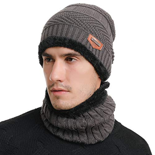 Belsen Mens Thick Warm Wool Knitted Hat and Scarf Winter Gift Set