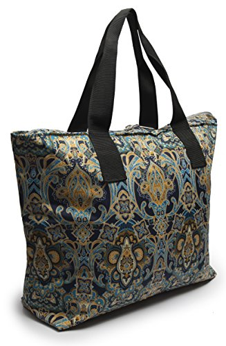 (Large Nylon Tote Bag For Shopping, Beach, Sports, Gym - With Double Top Zipper And Long Handles - Heavy Nylon Canvas With Lining (16 x 23, Paisley))