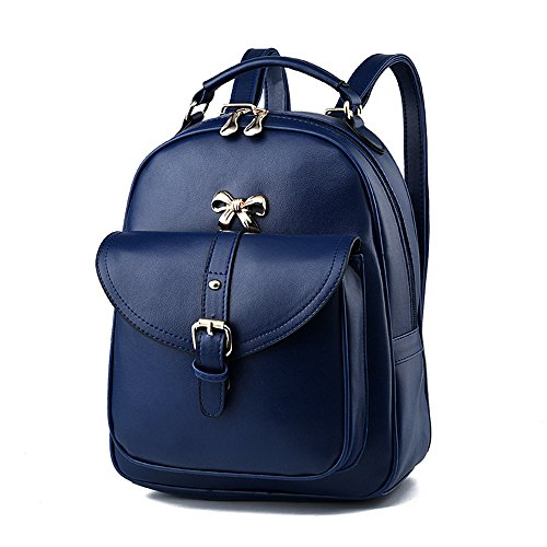 Large With Backpack Capacity Blue Pink Backpack High Women Dark Bow Backpack School Bags Bags Bag Leatherette Capacity Backpack Dark tdqWRWHc